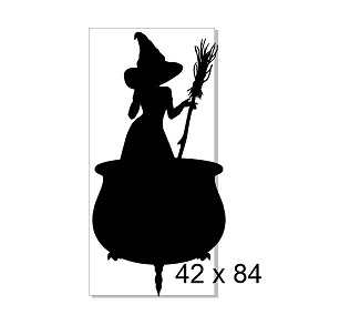 Witch in cauldron 84 x 42.  Halloween, chipboard and acrylic see